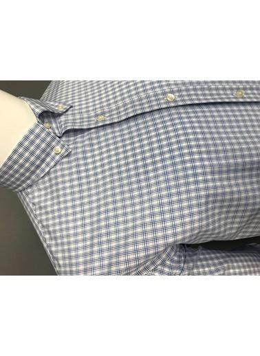 Abbate Kolay Ütülenır Düğmelı Yaka Ekose Regular Fıt Ceplı Gömlek Mavi
